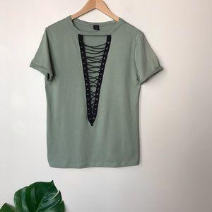 The Classic | Lattice Front Short Sleeve Shirt S